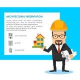 Het ontwerp vectorconcept van de architectuurpresentatie met de bouw van model Stock Foto's