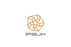 Het ontwerp vectormalplaatje van het ster Abstract Embleem Lineair Logotype-concept Stock Foto