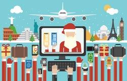 Het ontwerp vlakke, online aankoop van de nieuwjaarreis van kaartjes voor de vluchten van het nieuwe jaar vector illustratie