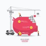 Het ontwerp vormmalplaatje Infographic van het de bedrijfs van het spaarvarken De bouw vector illustratie