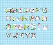 Het Ontwerp A-Z Vector van de Kerstmisdoopvont Stock Afbeeldingen