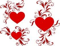 Het ontwerpachtergrond van de Dag van de romantische hartenValentijnskaart Stock Foto