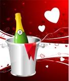 Het ontwerpachtergrond van de Dag van de Valentijnskaart van Champagne Stock Afbeelding