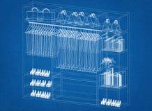 Het ontwerparchitect Blueprint van de kastorganisator Stock Foto