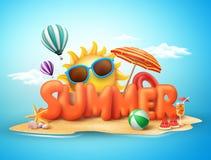 Het ontwerpconcept van de de zomer vectorbanner 3d teksten in strandeiland Royalty-vrije Stock Fotografie