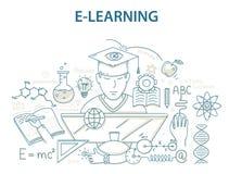 Het ontwerpconcept van de krabbelstijl e-leert en online onderwijs Stock Foto