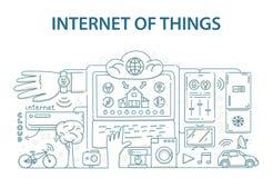 Het ontwerpconcept van de krabbelstijl Internet van de technologie van dingengegevens, netwerkinfrastructuur van het verbinden va Stock Foto's