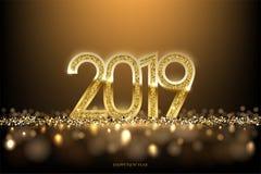 2019 het ontwerpconcept van de Nieuwjaarluxe Het vector gouden het Nieuwjaar horizontale malplaatje van 2019 met gouden schittert stock afbeeldingen