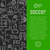 Het ontwerpconcept van de voetbal vectorbanner, met de dunne pictogrammen van de lijnkunst Royalty-vrije Stock Foto's