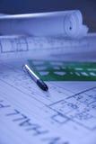 Het ontwerpdocumenten van het ontwerp met pen Stock Afbeeldingen
