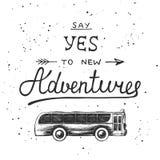 Het ontwerpelement van de reis vectorhand getrokken uniek typografie Stock Foto