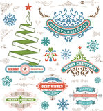 Het ontwerpelementen van de Kerstmisdecoratie Vrolijke Kerstmis en gelukkig Stock Fotografie