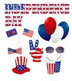 Het ontwerpelementen van de onafhankelijkheidsdag in wit worden geplaatst dat Royalty-vrije Stock Foto