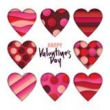 Het ontwerpelementen van de valentijnskaartendag De reeks harten met 3d abstract die document sneed vormen op witte achtergrond w Stock Illustratie