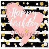 Het Ontwerpelementen van de verjaardagskaart voor weinig prinses, glamourmeisje en vrouw Vector illustratie royalty-vrije illustratie