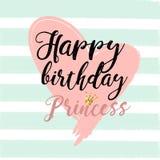 Het Ontwerpelementen van de verjaardagskaart voor weinig prinses, glamourmeisje en vrouw Vector illustratie vector illustratie