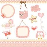 Het ontwerpelementen van het babymeisje Stock Fotografie