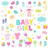 Het Ontwerpelementen van het babymeisje Stock Afbeeldingen