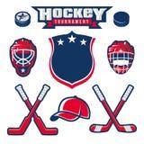 Het ontwerpelementen van het hockeyembleem Stock Foto