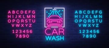 Het ontwerpembleem van het autowasseretteembleem in de vectorillustratie van de neonstijl Malplaatje, concept, lichtgevend teken  Stock Fotografie