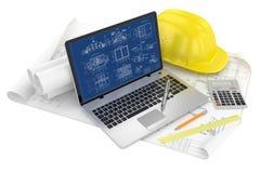 Het ontwerpen van project. Trekt en laptop royalty-vrije illustratie