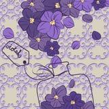 Het ontwerpfles van het bloem violette parfum royalty-vrije stock afbeelding