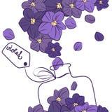 Het ontwerpfles van het bloem violette parfum stock fotografie