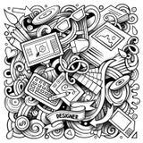 Het Ontwerpillustratie van beeldverhaal vectorkrabbels Stock Fotografie