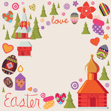 Het ontwerpkaart van Pasen met een reeks illustratieve elementen Stock Afbeelding