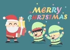 Het ontwerpkerstkaart van de Kerstmisaffiche met Santa Claus en Elve Royalty-vrije Stock Afbeelding