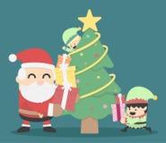 Het ontwerpkerstkaart van de Kerstmisaffiche met Santa Claus en Elve Stock Afbeeldingen
