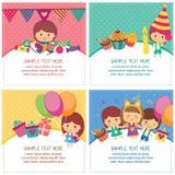 Het ontwerplay-out van de jonge geitjesverjaardag Stock Fotografie
