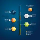 Het ontwerpmalplaatje van chronologieinfographics. Stock Foto's