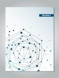 Het ontwerpmalplaatje van de brochure blauw dekking met abstracte het conceptenachtergrond van de netwerkverbinding Stock Foto