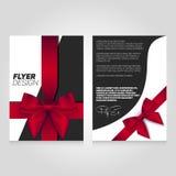 Het ontwerpmalplaatje van de brochurevlieger met giftlint Vectorafficheillustratie De lay-out van de pamfletdekking in A4 grootte Stock Afbeelding