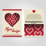Het ontwerpmalplaatje van de brochurevlieger met hartpatroon Royalty-vrije Stock Foto's
