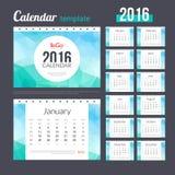 Het Ontwerpmalplaatje van de bureaukalender 2016 met driehoekig Stock Fotografie
