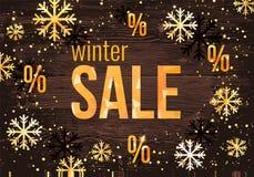 Het ontwerpmalplaatje van de de winterverkoop met in gouden sneeuwvlokken Horizontale Nieuwjaarbanner Stock Foto's