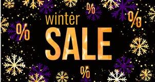 Het ontwerpmalplaatje van de de winterverkoop met in gouden of violette sneeuwvlokken gemakkelijk Stock Foto's
