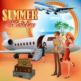 Het ontwerpmalplaatje van de de zomervakantie; Jonge toeristen die voor reis voorbereidingen treffen Stock Foto