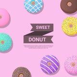 Het ontwerpmalplaatje van de doughnutbanner Vector illustratie Royalty-vrije Stock Foto's
