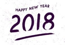 Het ontwerpmalplaatje van de groetkaart met Chinese kalligrafie 2018 Nieuwjaar van de Hond Ultraviolette nummer 2018 hand getrokk royalty-vrije illustratie