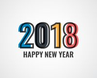 Het ontwerpmalplaatje van de groetkaart met Moderne Teksten 2018 Nieuwjaar Royalty-vrije Stock Foto