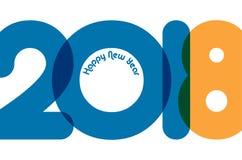 Het ontwerpmalplaatje van de groetkaart met Moderne Teksten 2018 Nieuwjaar Stock Foto