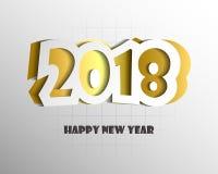 Het ontwerpmalplaatje van de groetkaart met Moderne Teksten 2018 Nieuwjaar Stock Afbeeldingen