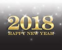 Het ontwerpmalplaatje van de groetkaart met Moderne Teksten 2018 Nieuwjaar Stock Fotografie