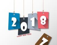 Het ontwerpmalplaatje van de groetkaart met Moderne Teksten 2018 Nieuwjaar Stock Foto's