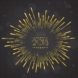 Het ontwerpmalplaatje van de groetkaart met Moderne Teksten 2018 Nieuwjaar Royalty-vrije Stock Afbeeldingen
