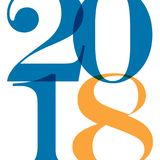 Het ontwerpmalplaatje van de groetkaart met Moderne Teksten 2018 Nieuwjaar Stock Illustratie