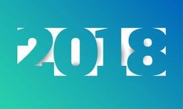 Het ontwerpmalplaatje van de groetkaart met Moderne Teksten 2018 Nieuwjaar Royalty-vrije Illustratie